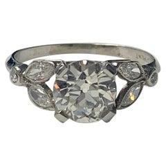 1920 Antique Old European Cut Diamond Ring in Platinum