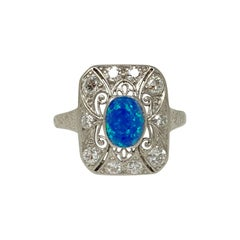 1920 Antique Opal And Diamond Ring in Platinum