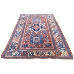 1920 Antique Persian Karajeh Heriz Runner Rug, Eagle Kazak Design