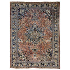 1920 Antique Persian Sarouk Mahal Rustic Rug, Soft and Pliable, Clean