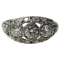 1920 Antique Three-Stone Old European Cut Diamond Ring in Platinum