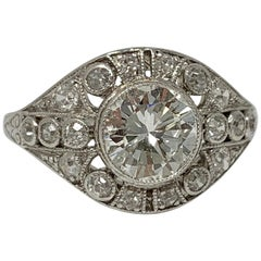 1920 Antique White Old European Cut Diamond Engagement Ring in Platinum