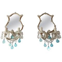 1920 Aqua Blue Murano Glass Mirror Sconces Set of Four