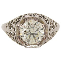 1920 Art Deco 18 Karat White Gold Filigree Diamond Engagement Ring