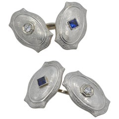 1920 Art Deco Cufflinks Gold Platinum Diamond Sapphire