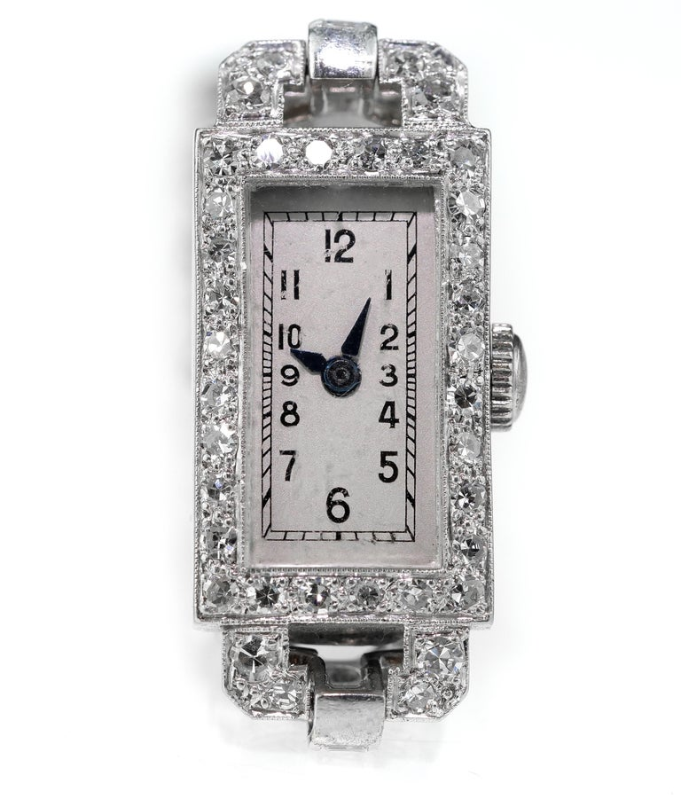 Round Cut 1920 Art Deco Diamond Dress Bracelet Watch in Platinum For Sale