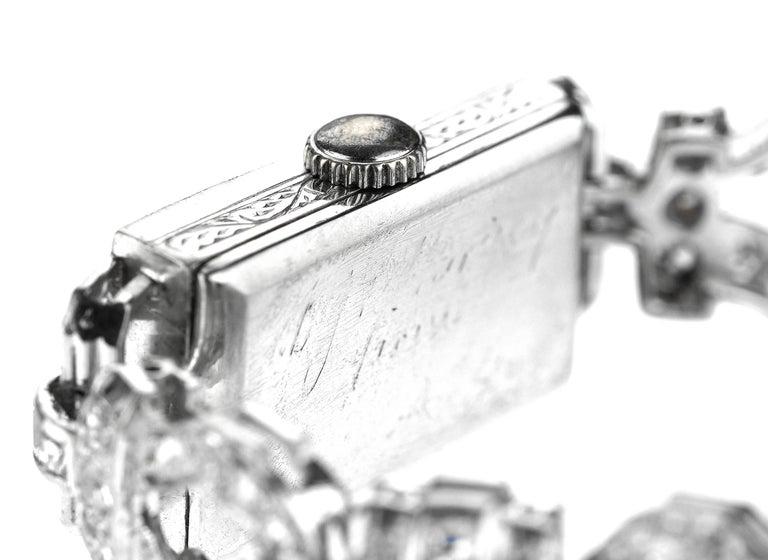 1920 Art Deco Diamond Dress Bracelet Watch in Platinum In Good Condition For Sale In London, GB