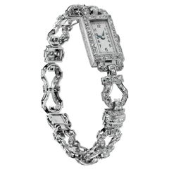 1920 Art Deco Diamond Dress Bracelet Watch in Platinum