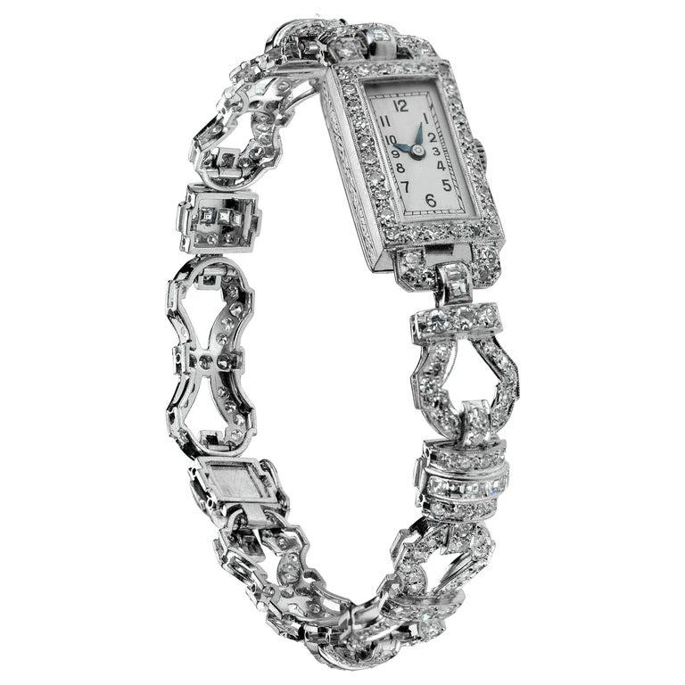 1920 Art Deco Diamond Dress Bracelet Watch in Platinum For Sale