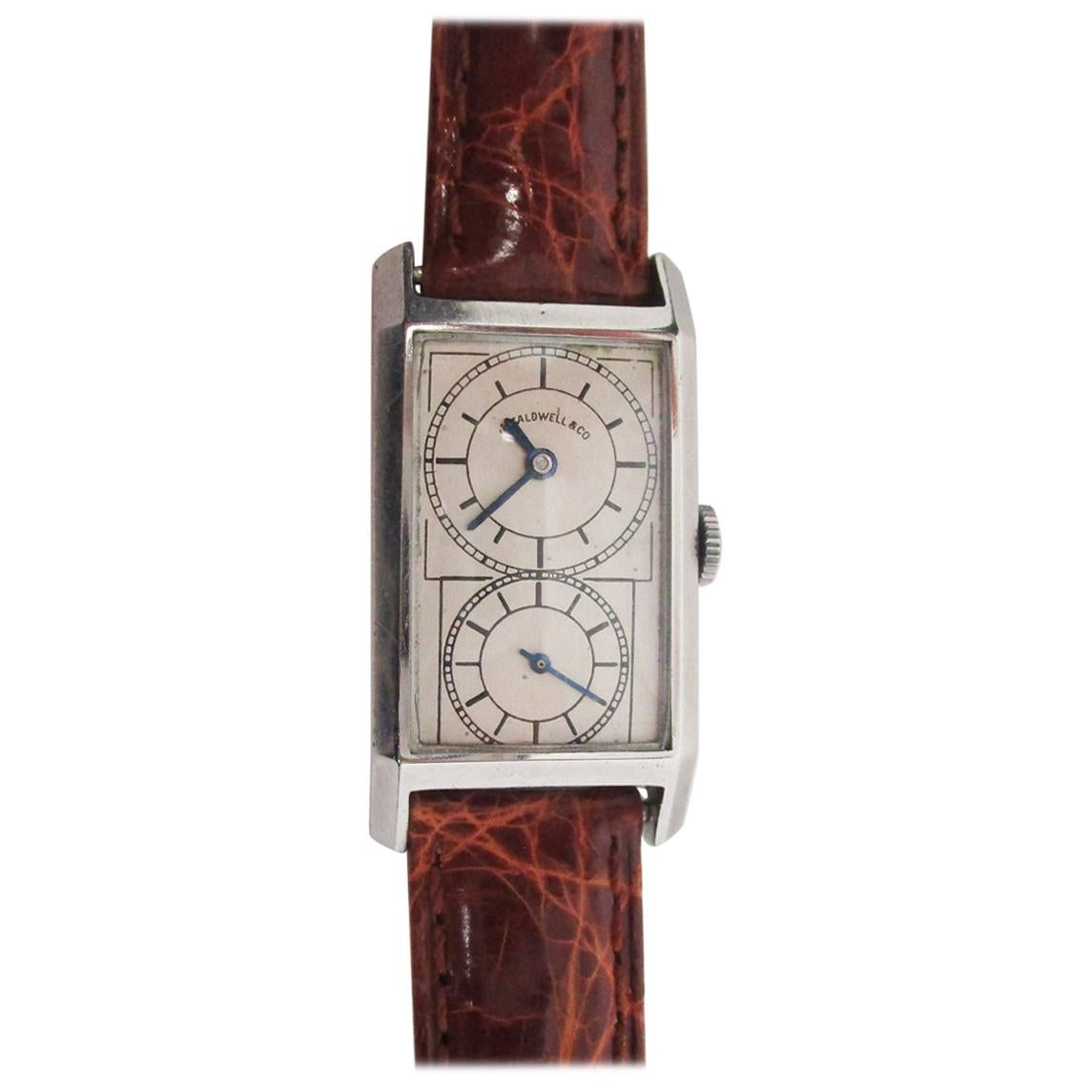 1920 Art Deco J E Caldwell Stainless Steel Prince Doctor's Watch Crocodile Strap