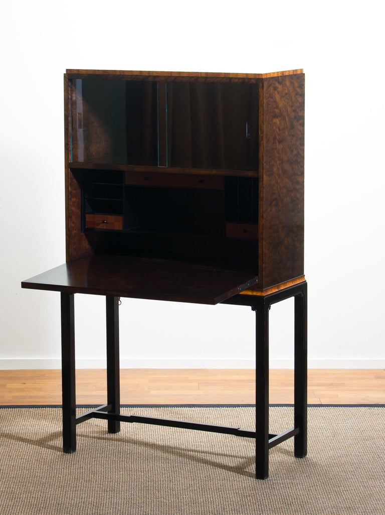 Glass 1920, Art Deco Secretaire/High Boy by Axel Einar Hjorth for Nordiska Kompaniet For Sale