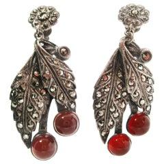 1920 Art Deco Sterling Silver Marcasite and Carnelian Dangle Earrings