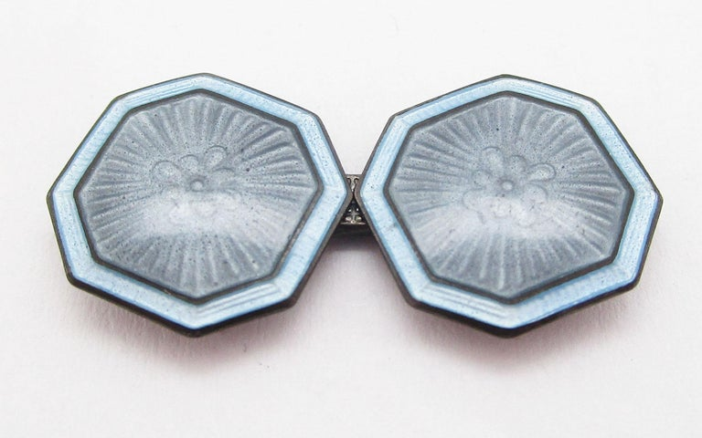 1920 Art Deco Sterling Silver Pale Blue Enamel Cufflinks In Excellent Condition For Sale In Lexington, KY