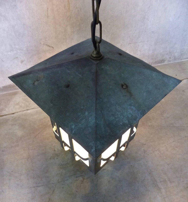 Arts and Crafts 1920 Arts & Crafts Copper Pendant Lamp For Sale