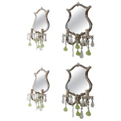 1920 Chartreuse Murano Glass Figs Mirror Sconces, Set of Four