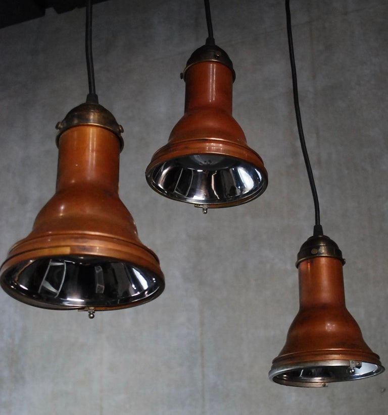 1920 Copper Pendant Lights Theatre Stage in NYC by the Major Equipement Co. For Sale 2