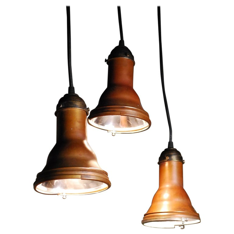 1920 Copper Pendant Lights Theatre Stage in NYC by the Major Equipement Co. For Sale