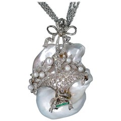 1920 Deco Diamond and Pearl Pendant with Chain