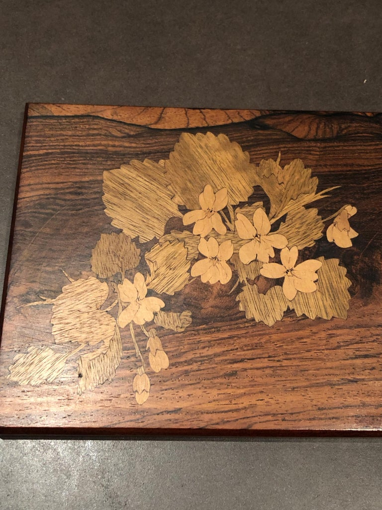 French 1920 Emile Galle Wooden Box Flowers and Leaves Marquetry Wood For Sale