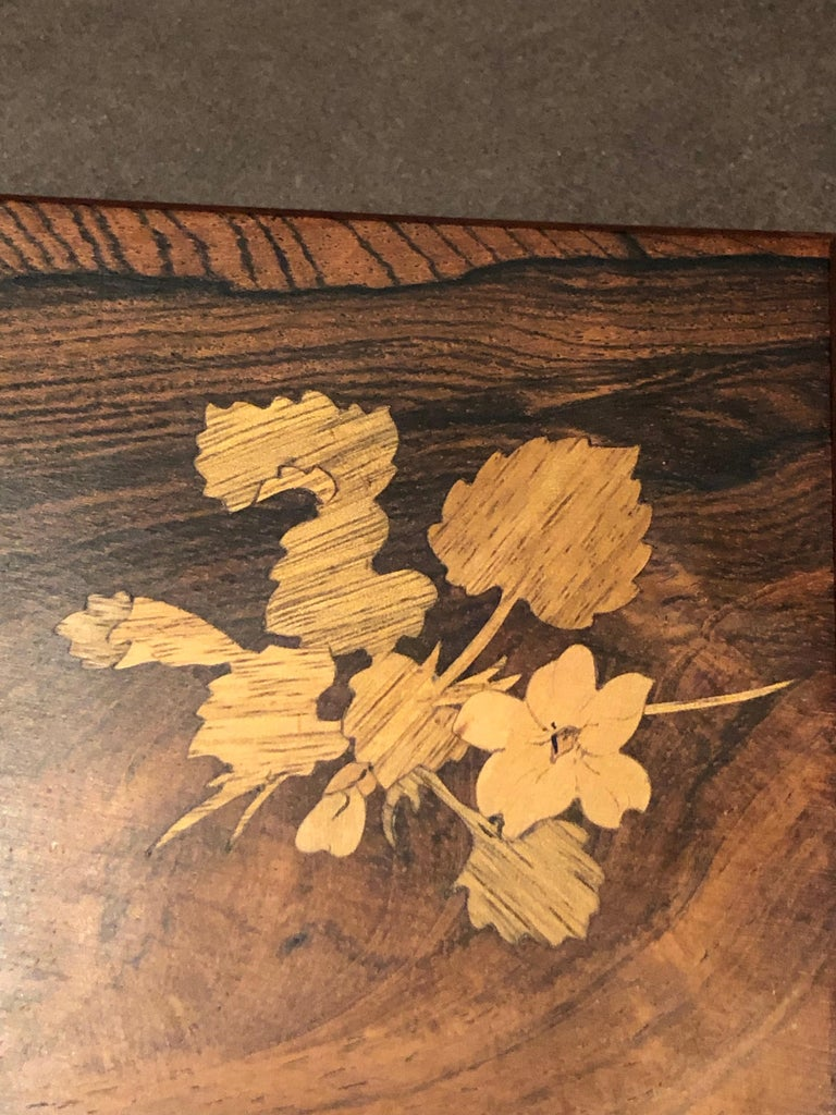 Molded 1920 Emile Galle Wooden Box Flowers and Leaves Marquetry Wood For Sale