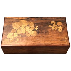 1920 Emile Galle Wooden Box Flowers and Leaves Marquetry Wood