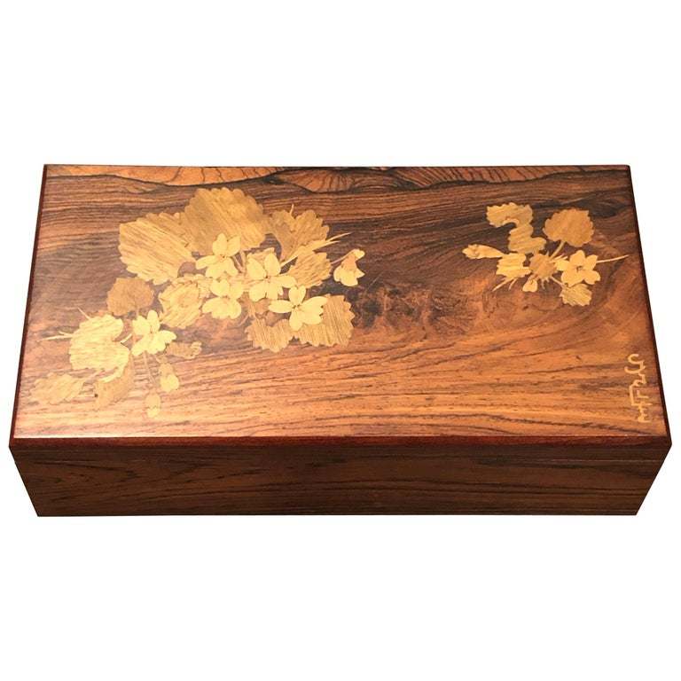 1920 Emile Galle Wooden Box Flowers and Leaves Marquetry Wood For Sale