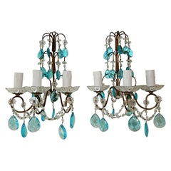 1920 French Aqua Blue Crystal Prisms and Swags Sconces
