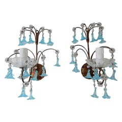 1920 French Aqua Blue Murano Bell Flowers and Crystal Prisms Sconces
