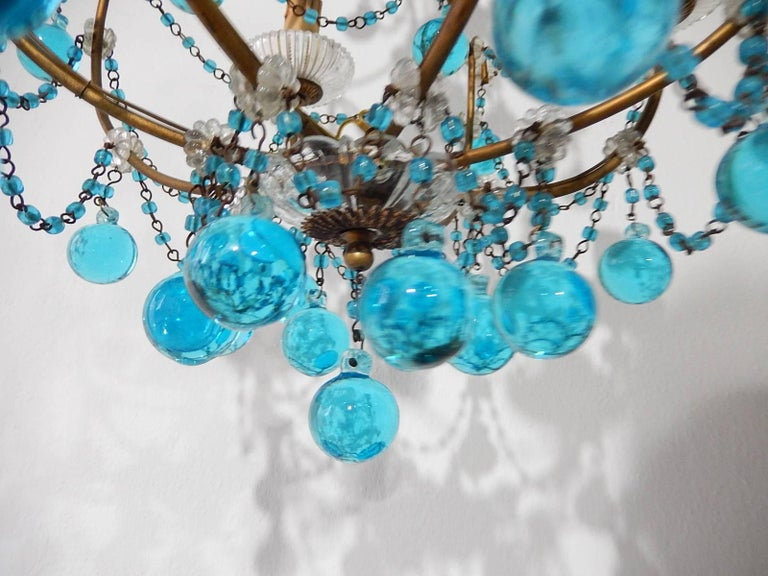 1920 French Aqua Swags and Murano Balls Chandelier For Sale 5