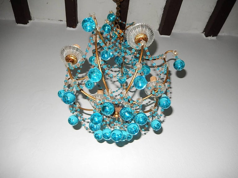 1920 French Aqua Swags and Murano Balls Chandelier In Good Condition For Sale In Modena (MO), IT