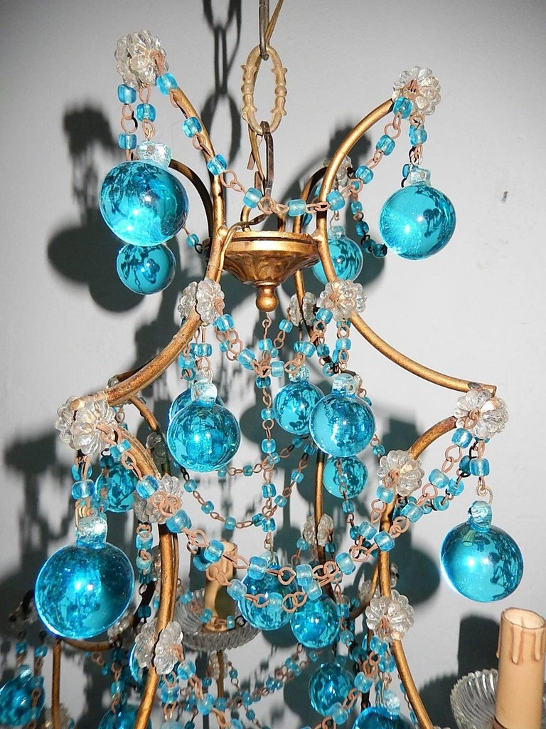 Early 20th Century 1920 French Aqua Swags and Murano Balls Chandelier For Sale