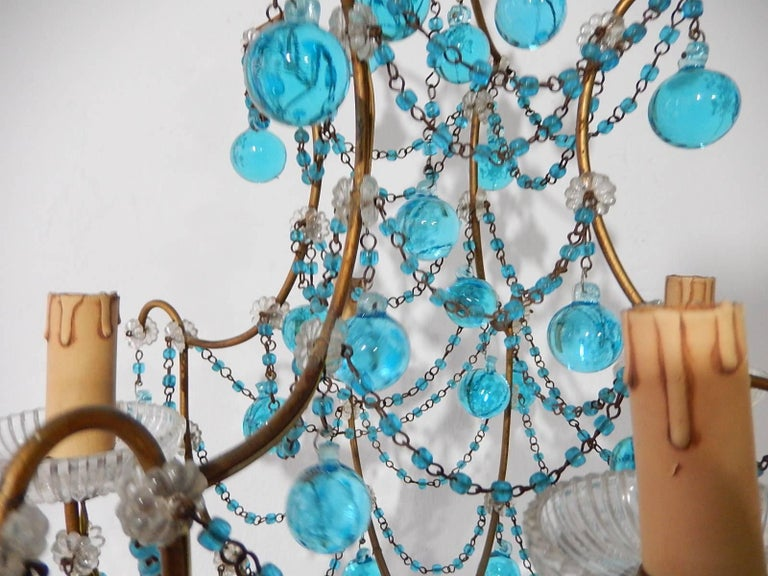 Murano Glass 1920 French Aqua Swags and Murano Balls Chandelier For Sale
