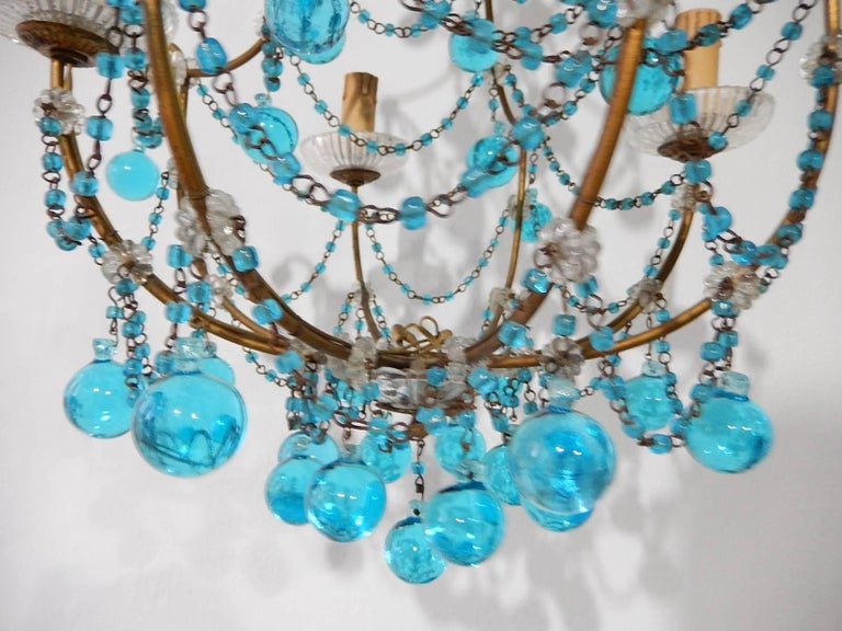 1920 French Aqua Swags and Murano Balls Chandelier For Sale 1