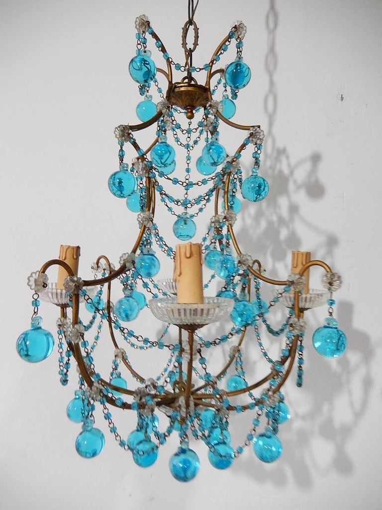 1920 French Aqua Swags and Murano Balls Chandelier For Sale 2