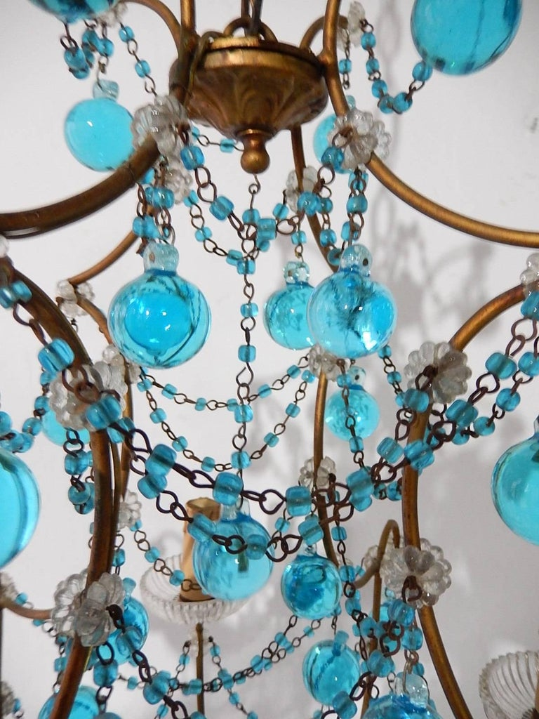 1920 French Aqua Swags and Murano Balls Chandelier For Sale 3