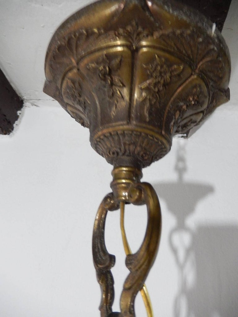 1920 French Aqua Swags and Murano Balls Chandelier For Sale 4