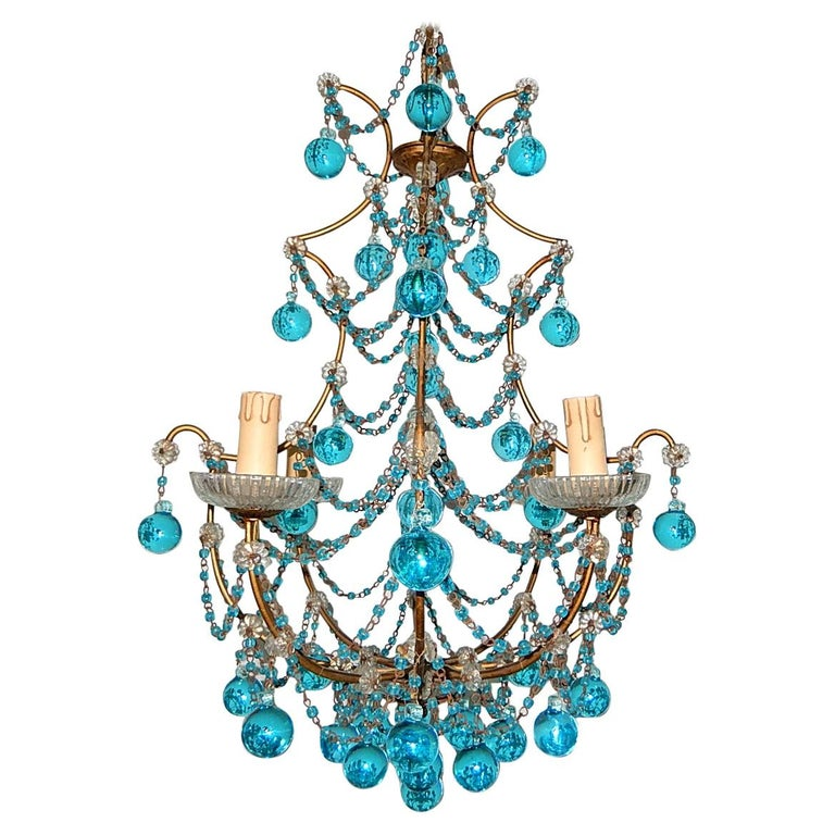 1920 French Aqua Swags and Murano Balls Chandelier For Sale
