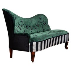 1920 French Bottle Green Jacquard Velvet and Velour's Piano Stripe Chaise Lounge