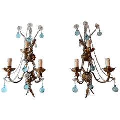 1920 French Bronze Murano Aqua Blue Drops Crystal Prisms Sconces
