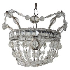 1920 French Flush Mount Beaded Maison Baguès Style Beaded Mirror Chandelier