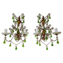 1920 French Green Murano Drops Beaded Swags Giltwood Sconces