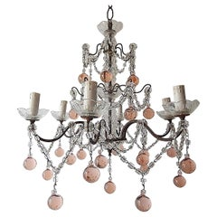1920 French Pink Murano Balls Crystal Swags Chandelier