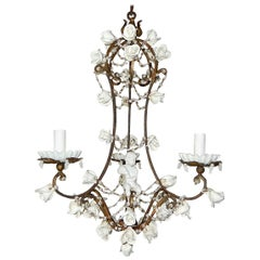 1920 French White Opaline with Cherub and Swags with White Roses Chandelier