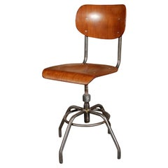 1920 French Wood and Metal Swivel Chair