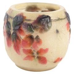 1920 Gabriel Argy-Rousseau Araignée et Ronces Vase in Pate de Verre Cameo Glass