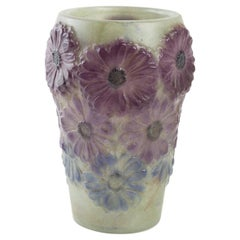 1920 Gabriel Argy-Rousseau Soucis Vase in Pate de Verre Green, Purple and Blue