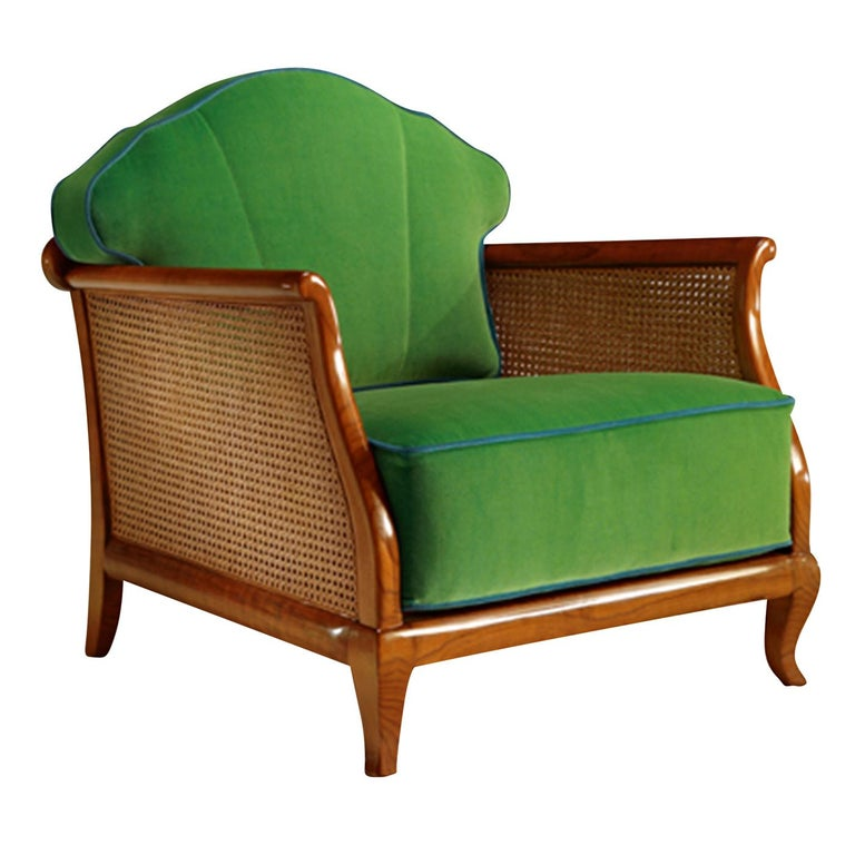 Italian 1920 Green Armchair For Sale