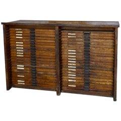 1920 Hamilton Mfg. Co. Oak Printers Typeset Cabinet
