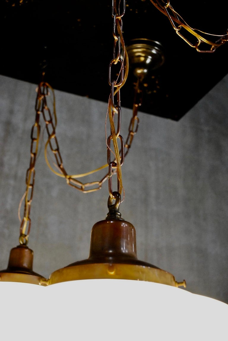 1920 Large Deco Style Copper Bank Pendants In Good Condition In Surrey, BC
