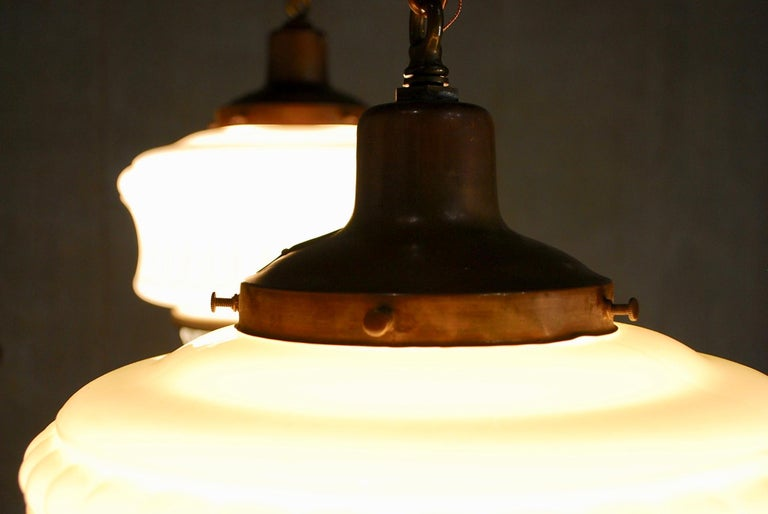 Early 20th Century 1920 Large Deco Style Copper Bank Pendants